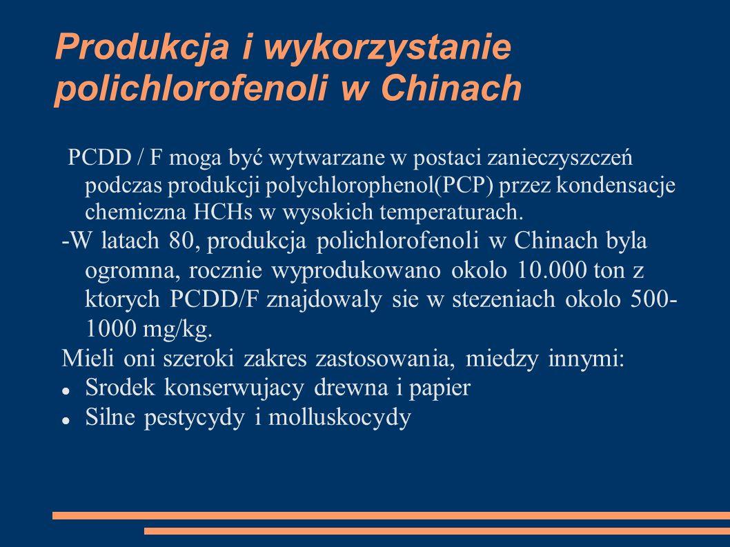 Produkcja i wykorzystanie polichlorofenoli w Chinach PCDD / F moga być wytwarzane w postaci zanieczyszczeń podczas produkcji polychlorophenol(PCP) przez kondensacje chemiczna HCHs w wysokich temperaturach.