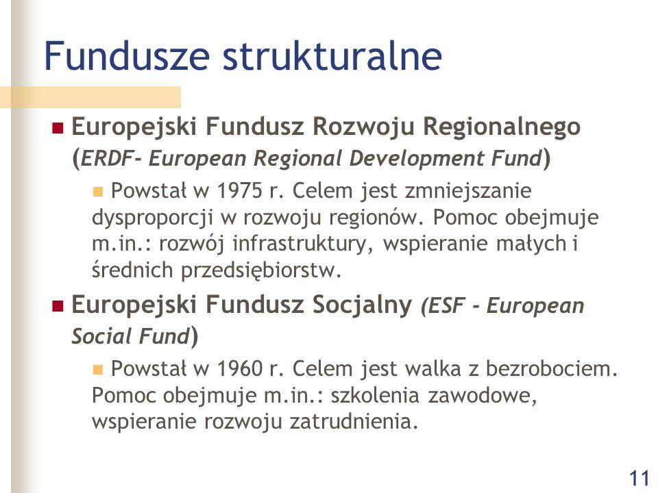 11 Fundusze strukturalne Europejski Fundusz Rozwoju Regionalnego ( ERDF- European Regional Development Fund ) Powstał w 1975 r. Celem jest zmniejszani