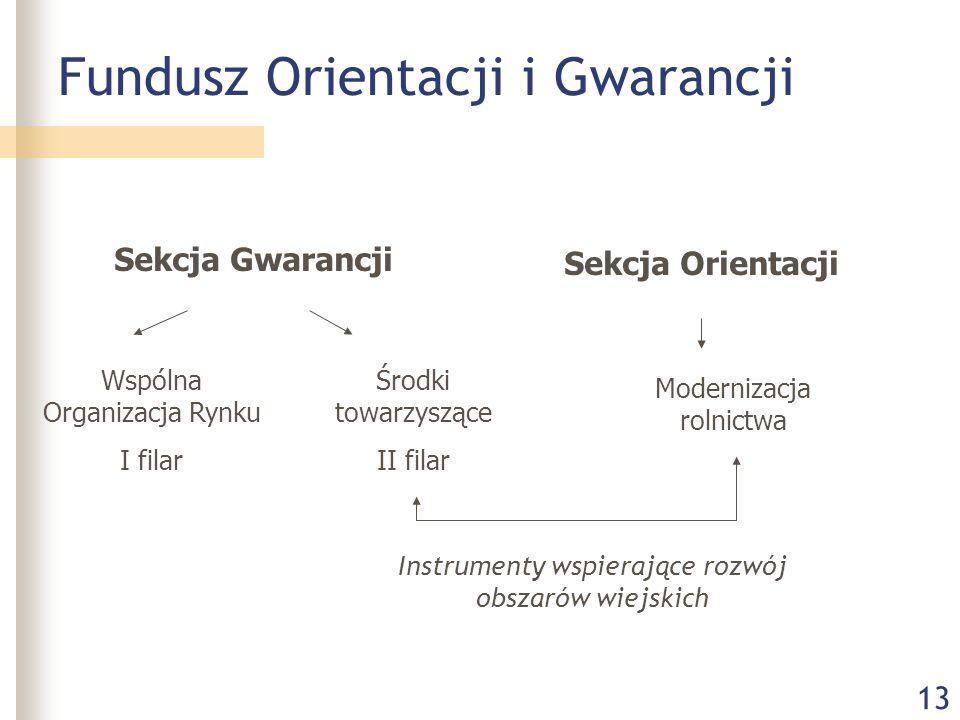 13 Fundusz Orientacji i Gwarancji Sekcja Gwarancji Sekcja Orientacji Wspólna Organizacja Rynku I filar Środki towarzyszące II filar Modernizacja rolnictwa Instrumenty wspierające rozwój obszarów wiejskich
