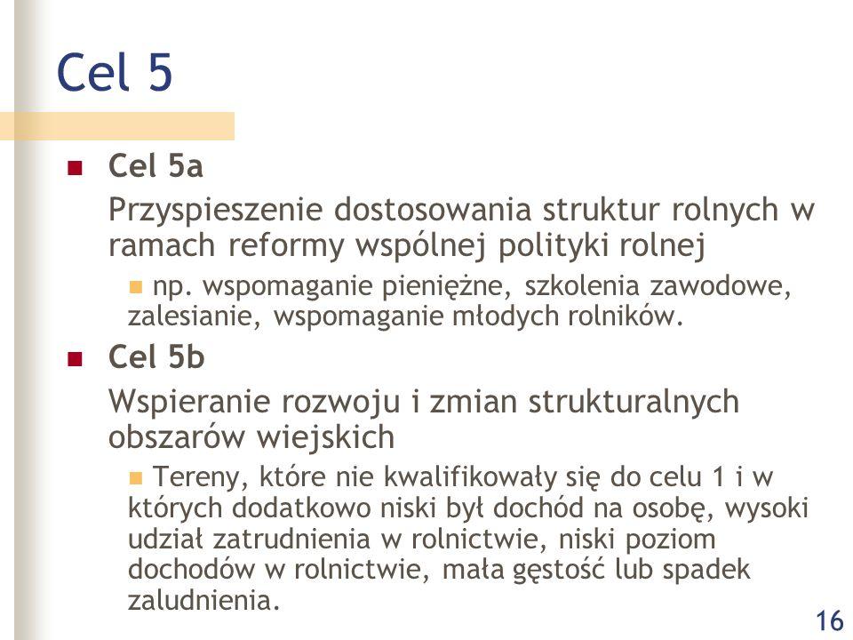 16 Cel 5 Cel 5a Przyspieszenie dostosowania struktur rolnych w ramach reformy wspólnej polityki rolnej np.