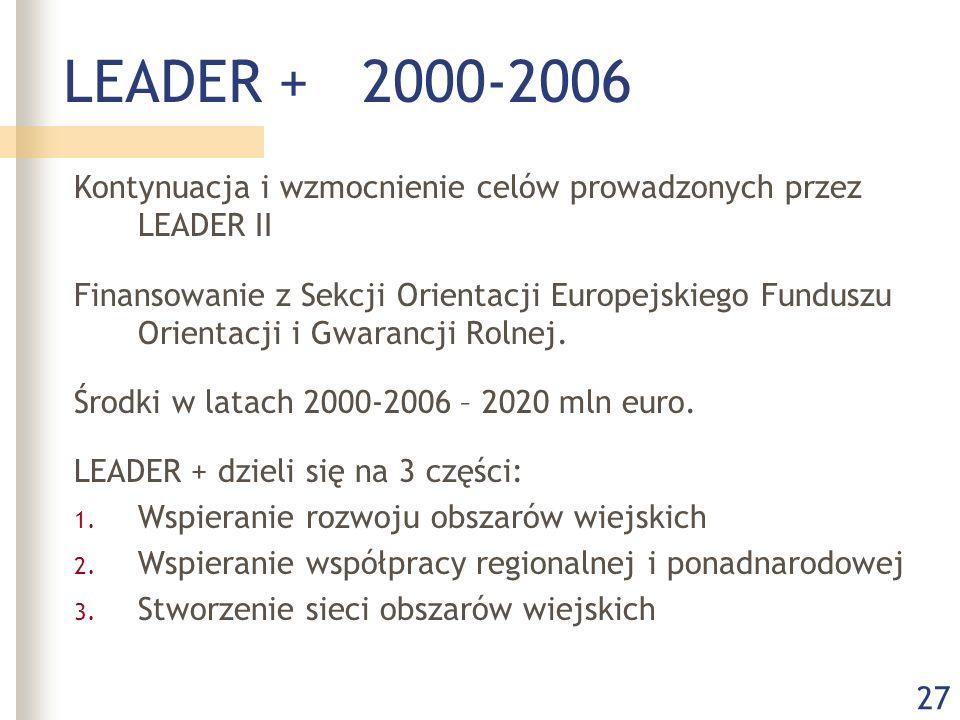 27 LEADER + 2000-2006 Kontynuacja i wzmocnienie celów prowadzonych przez LEADER II Finansowanie z Sekcji Orientacji Europejskiego Funduszu Orientacji