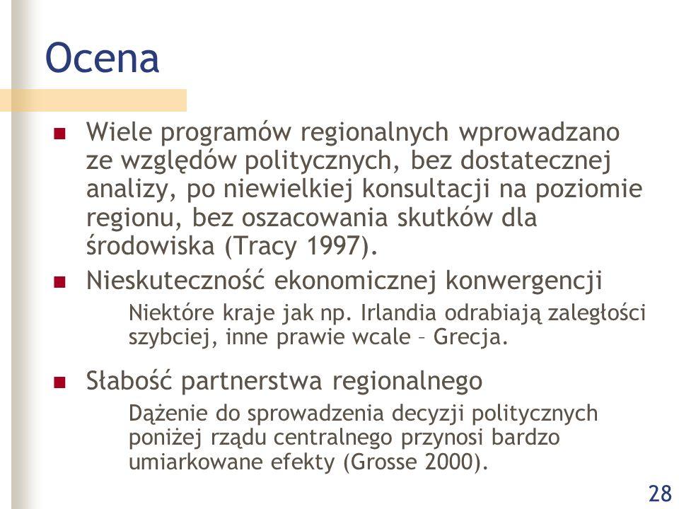 28 Ocena Wiele programów regionalnych wprowadzano ze względów politycznych, bez dostatecznej analizy, po niewielkiej konsultacji na poziomie regionu, bez oszacowania skutków dla środowiska (Tracy 1997).