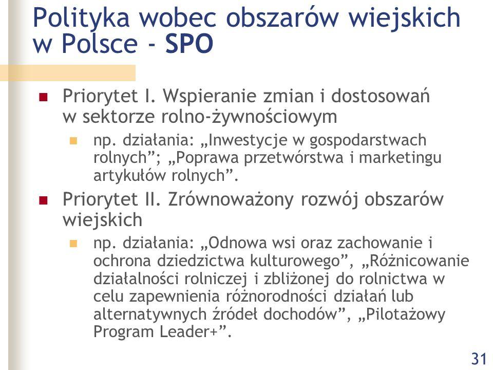 """31 Polityka wobec obszarów wiejskich w Polsce - SPO Priorytet I. Wspieranie zmian i dostosowań w sektorze rolno-żywnościowym np. działania: """"Inwestycj"""