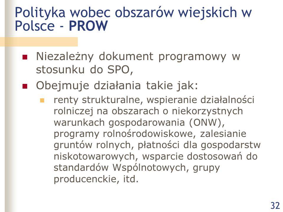 32 Polityka wobec obszarów wiejskich w Polsce - PROW Niezależny dokument programowy w stosunku do SPO, Obejmuje działania takie jak: renty strukturalne, wspieranie działalności rolniczej na obszarach o niekorzystnych warunkach gospodarowania (ONW), programy rolnośrodowiskowe, zalesianie gruntów rolnych, płatności dla gospodarstw niskotowarowych, wsparcie dostosowań do standardów Wspólnotowych, grupy producenckie, itd.