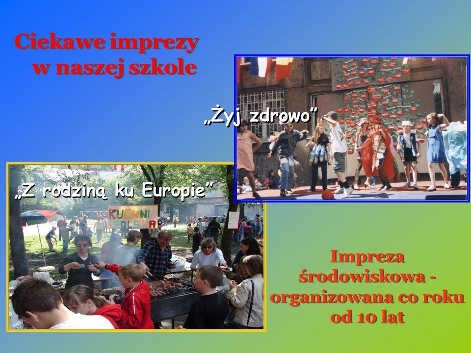 """""""Z rodziną ku Europie Impreza środowiskowa - organizowana co roku od 10 lat """"Żyj zdrowo Ciekawe imprezy w naszej szkole"""