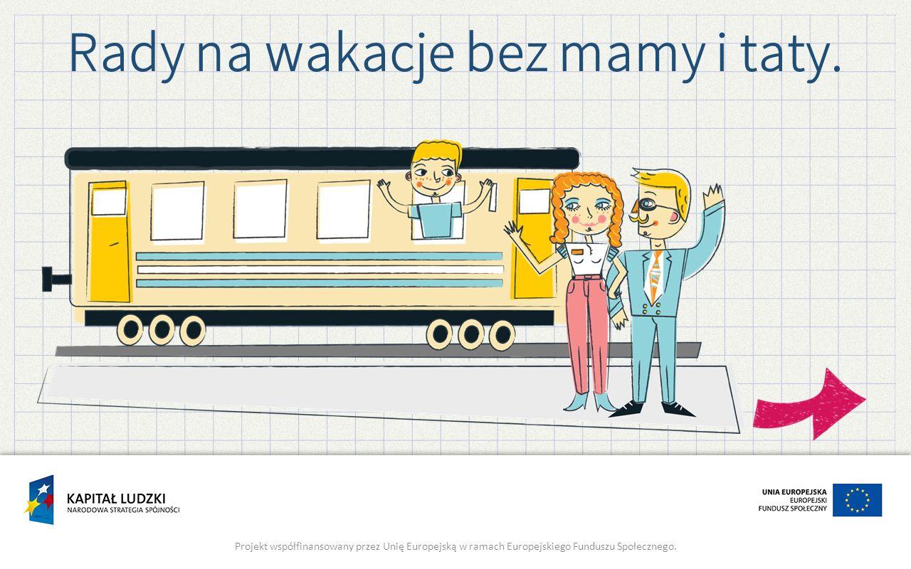 Rady na wakacje bez mamy i taty. Projekt współfinansowany przez Unię Europejską w ramach Europejskiego Funduszu Społecznego.