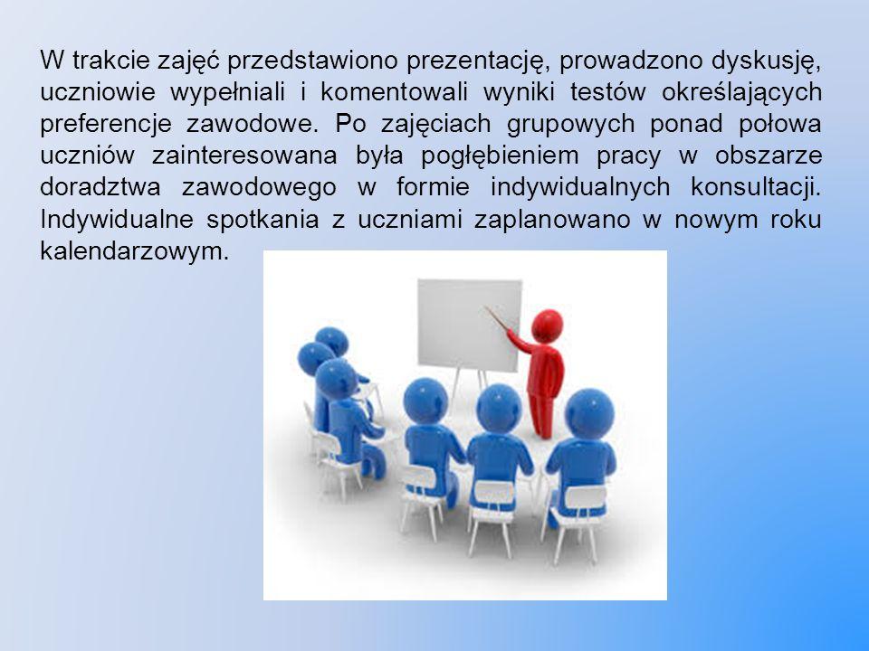 W trakcie zajęć przedstawiono prezentację, prowadzono dyskusję, uczniowie wypełniali i komentowali wyniki testów określających preferencje zawodowe.