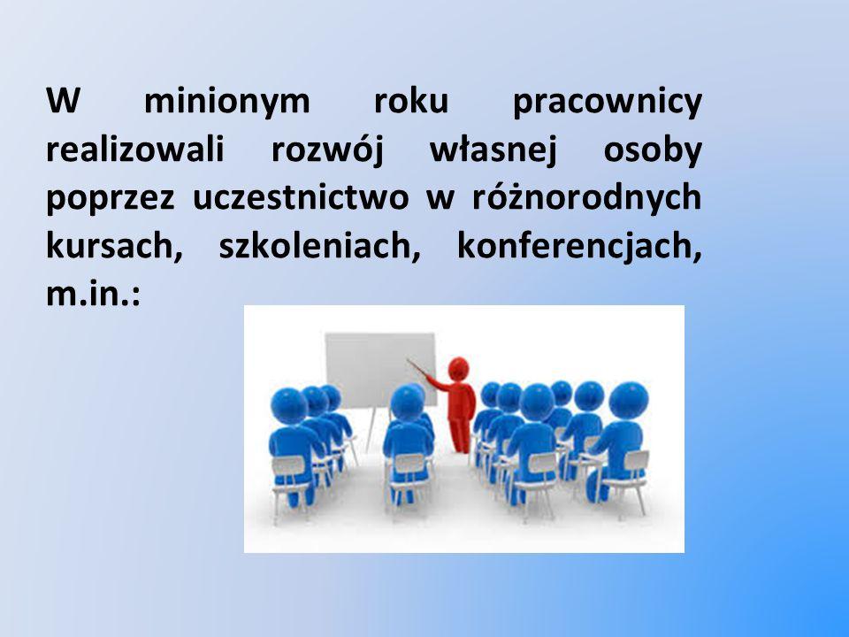 W minionym roku pracownicy realizowali rozwój własnej osoby poprzez uczestnictwo w różnorodnych kursach, szkoleniach, konferencjach, m.in.:
