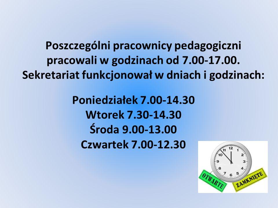 Poszczególni pracownicy pedagogiczni pracowali w godzinach od 7.00-17.00.