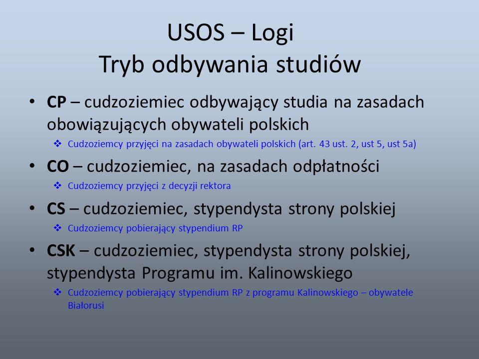 USOS – Logi Tryb odbywania studiów CP – cudzoziemiec odbywający studia na zasadach obowiązujących obywateli polskich  Cudzoziemcy przyjęci na zasadach obywateli polskich (art.