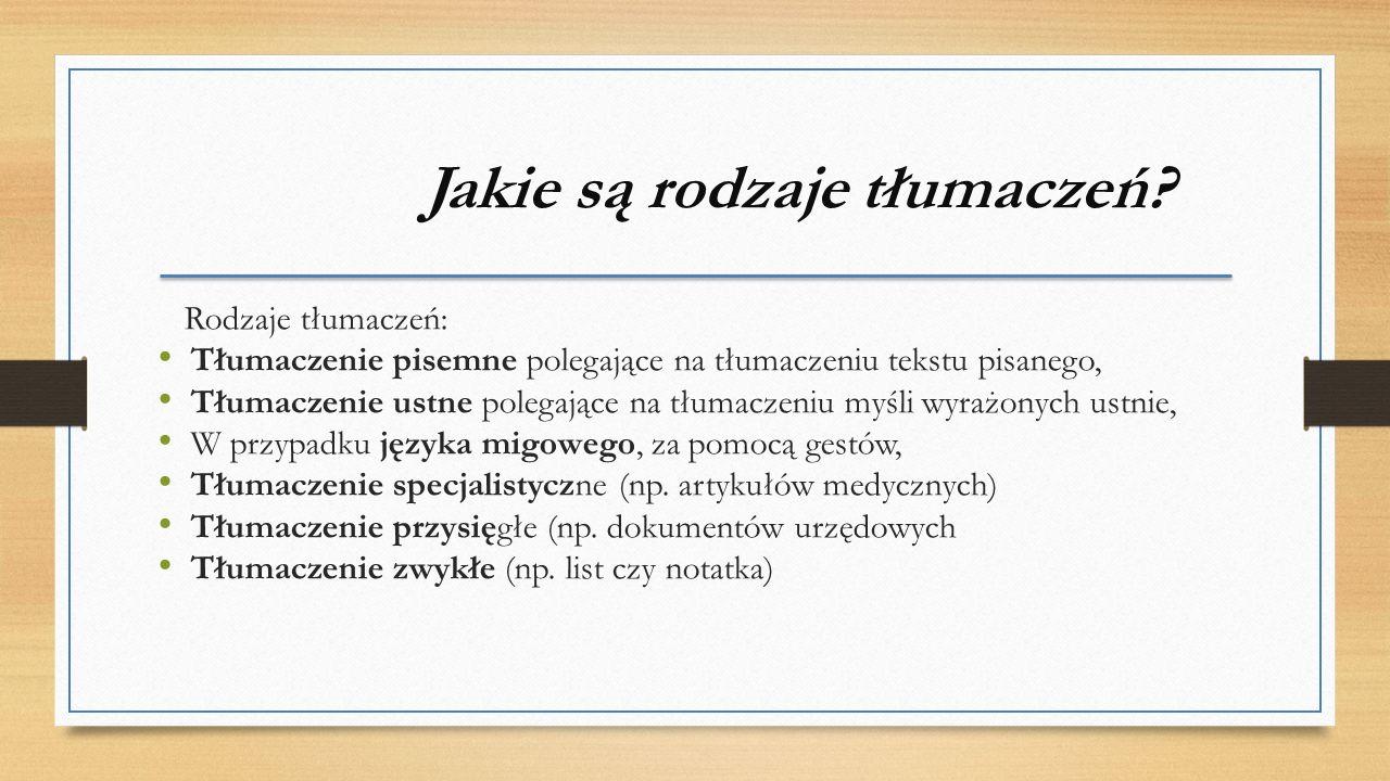 Jakie są rodzaje tłumaczeń.