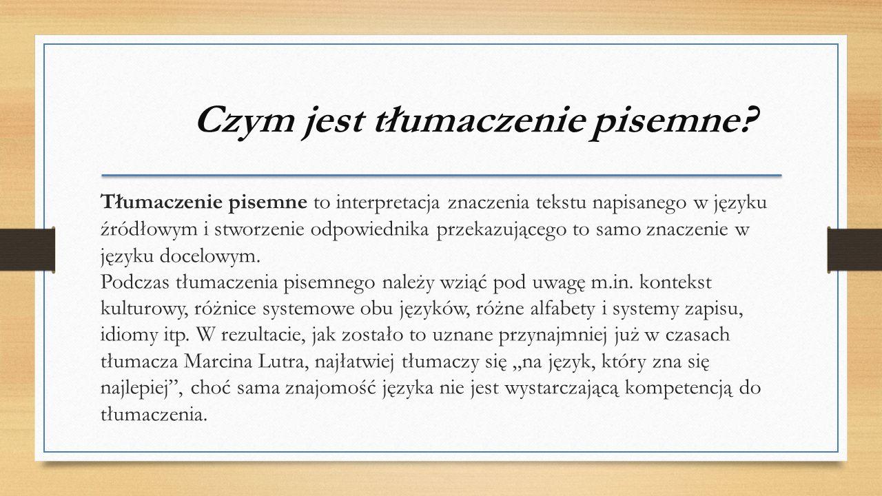 Czym jest tłumaczenie pisemne.