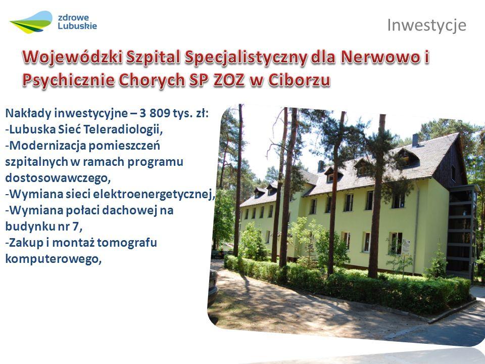 Inwestycje Nakłady inwestycyjne – 3 809 tys. zł: -Lubuska Sieć Teleradiologii, -Modernizacja pomieszczeń szpitalnych w ramach programu dostosowawczego