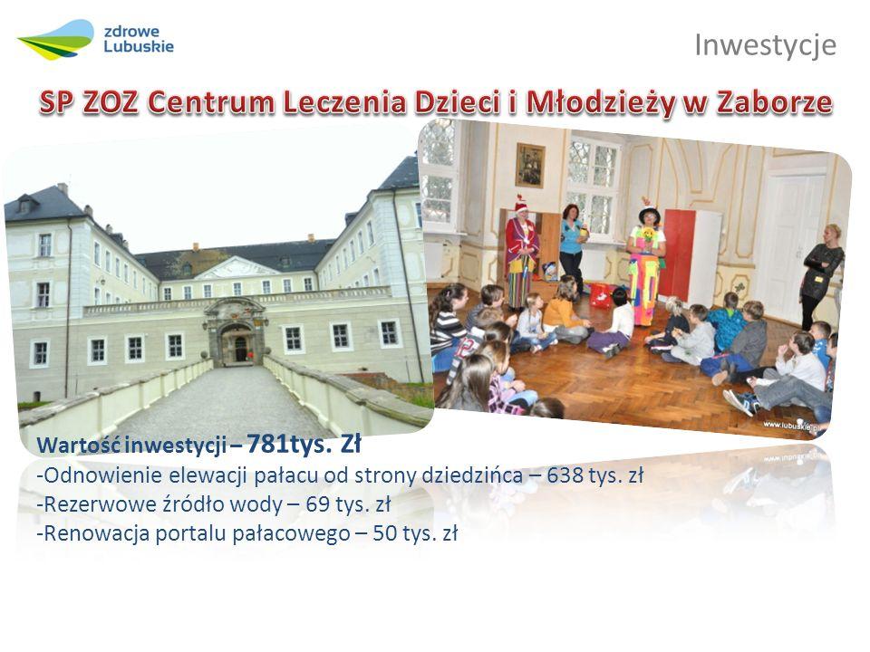 Inwestycje Wartość inwestycji – 781tys. Zł -Odnowienie elewacji pałacu od strony dziedzińca – 638 tys. zł -Rezerwowe źródło wody – 69 tys. zł -Renowac