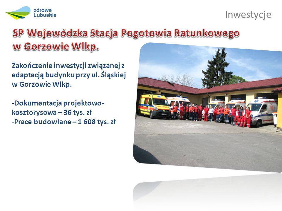 Inwestycje Zakończenie inwestycji związanej z adaptacją budynku przy ul. Śląskiej w Gorzowie Wlkp. -Dokumentacja projektowo- kosztorysowa – 36 tys. zł