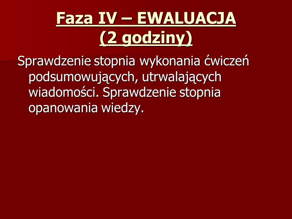 Faza IV – EWALUACJA (2 godziny) Sprawdzenie stopnia wykonania ćwiczeń podsumowujących, utrwalających wiadomości.