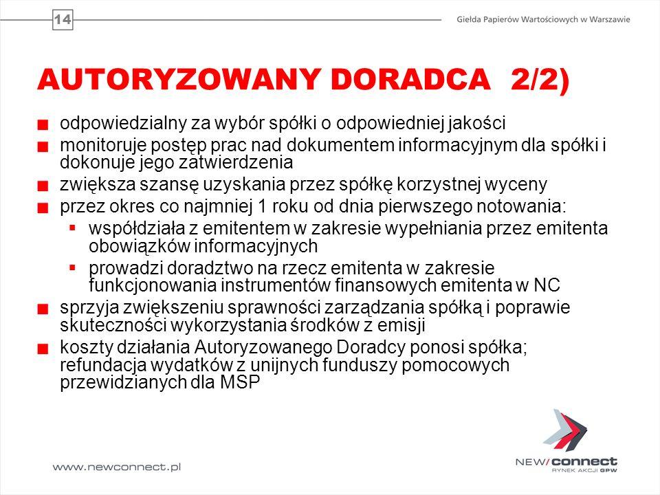 14 AUTORYZOWANY DORADCA 2/2) odpowiedzialny za wybór spółki o odpowiedniej jakości monitoruje postęp prac nad dokumentem informacyjnym dla spółki i do