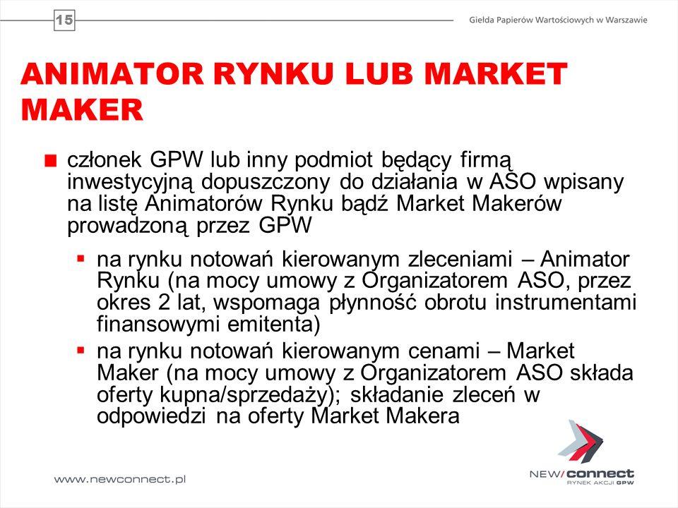 15 ANIMATOR RYNKU LUB MARKET MAKER członek GPW lub inny podmiot będący firmą inwestycyjną dopuszczony do działania w ASO wpisany na listę Animatorów R