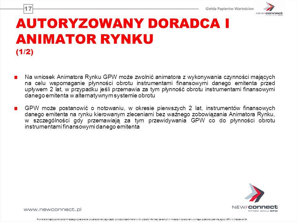 17 AUTORYZOWANY DORADCA I ANIMATOR RYNKU (1/2) Na wniosek Animatora Rynku GPW może zwolnić animatora z wykonywania czynności mających na celu wspomaga