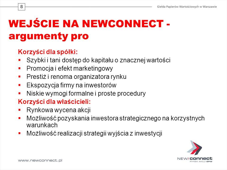 8 WEJŚCIE NA NEWCONNECT - argumenty pro Korzyści dla spółki:  Szybki i tani dostęp do kapitału o znacznej wartości  Promocja i efekt marketingowy 