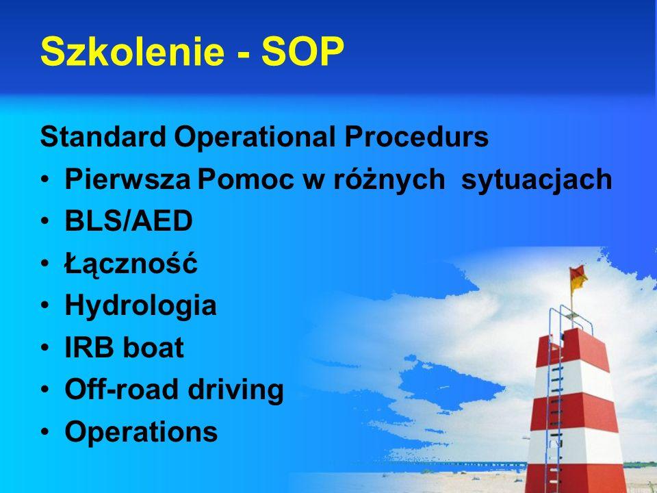 Szkolenie - SOP Standard Operational Procedurs Pierwsza Pomoc w różnych sytuacjach BLS/AED Łączność Hydrologia IRB boat Off-road driving Operations