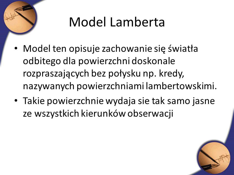 Model Lamberta Model ten opisuje zachowanie się światła odbitego dla powierzchni doskonale rozpraszających bez połysku np. kredy, nazywanych powierzch