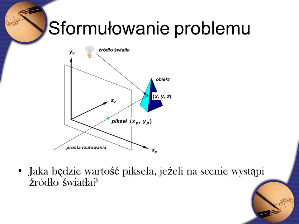 Cieniowanie Phonga Cieniowanie Phonga polega na analogicznej interpolacji, tylko że nie barwy ale wektora normalnego Dwukrotnie większa złożoność obliczeniowa Praktycznie nie dopuszcza pojawienia się pasm Macha Umożliwia pokazanie rozbłysków światła