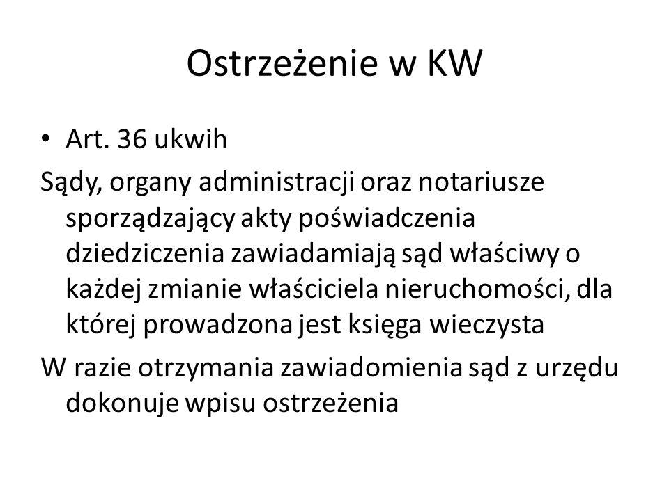 Ostrzeżenie w KW Art.