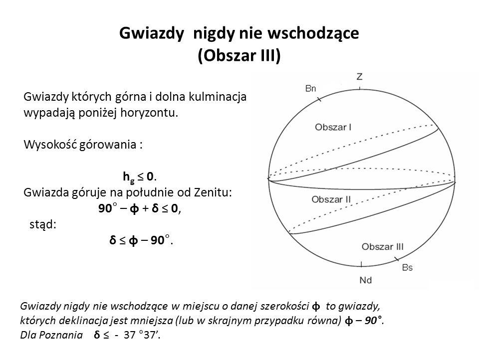 Gwiazdy nigdy nie wschodzące (Obszar III) Gwiazdy których górna i dolna kulminacja wypadają poniżej horyzontu. Wysokość górowania : h g ≤ 0. Gwiazda g