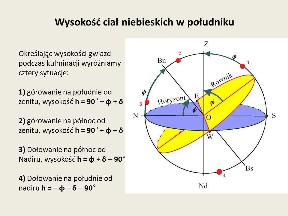 Określając wysokości gwiazd podczas kulminacji wyróżniamy cztery sytuacje: 1) górowanie na południe od zenitu, wysokość h = 90° – φ + δ 2) górowanie n