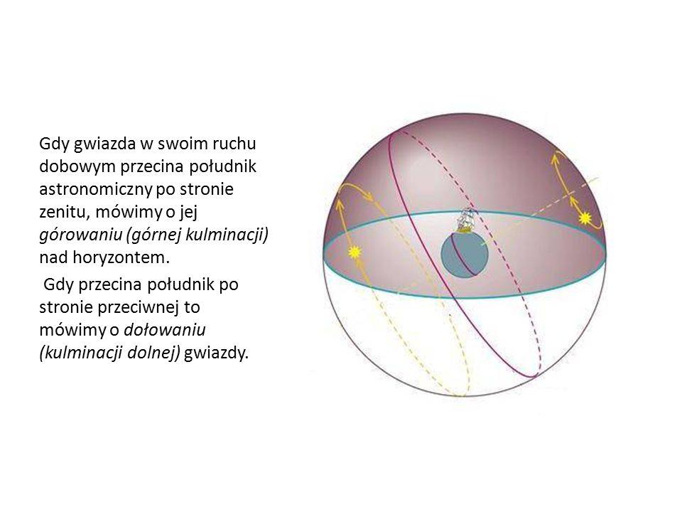 Gdy gwiazda w swoim ruchu dobowym przecina południk astronomiczny po stronie zenitu, mówimy o jej górowaniu (górnej kulminacji) nad horyzontem. Gdy pr