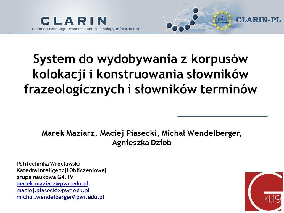 Plan prezentacji Konferencja CLARIN-PL Wrocław 25-26 IV 2016 CLARIN-PL