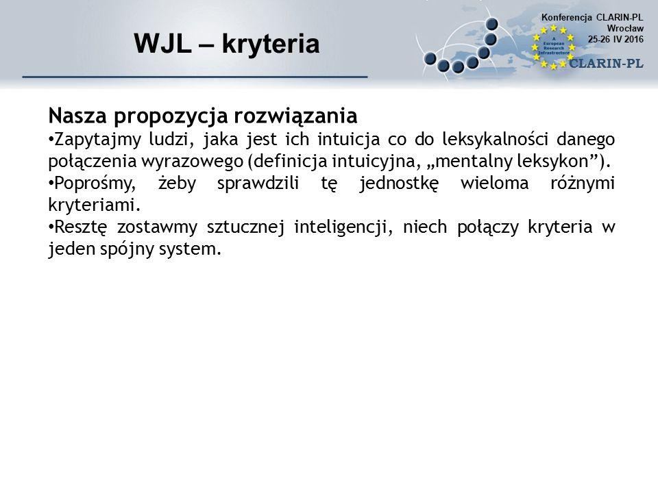 """WJL – kryteria Nasza propozycja rozwiązania Zapytajmy ludzi, jaka jest ich intuicja co do leksykalności danego połączenia wyrazowego (definicja intuicyjna, """"mentalny leksykon )."""