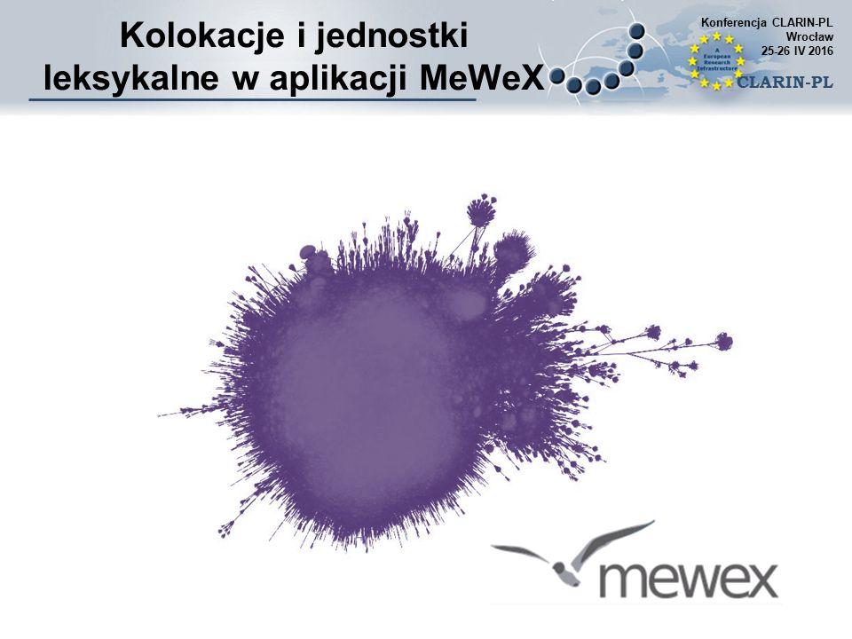 Kolokacje i jednostki leksykalne w aplikacji MeWeX Konferencja CLARIN-PL Wrocław 25-26 IV 2016 CLARIN-PL