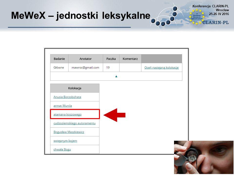 MeWeX – jednostki leksykalne Konferencja CLARIN-PL Wrocław 25-26 IV 2016 CLARIN-PL