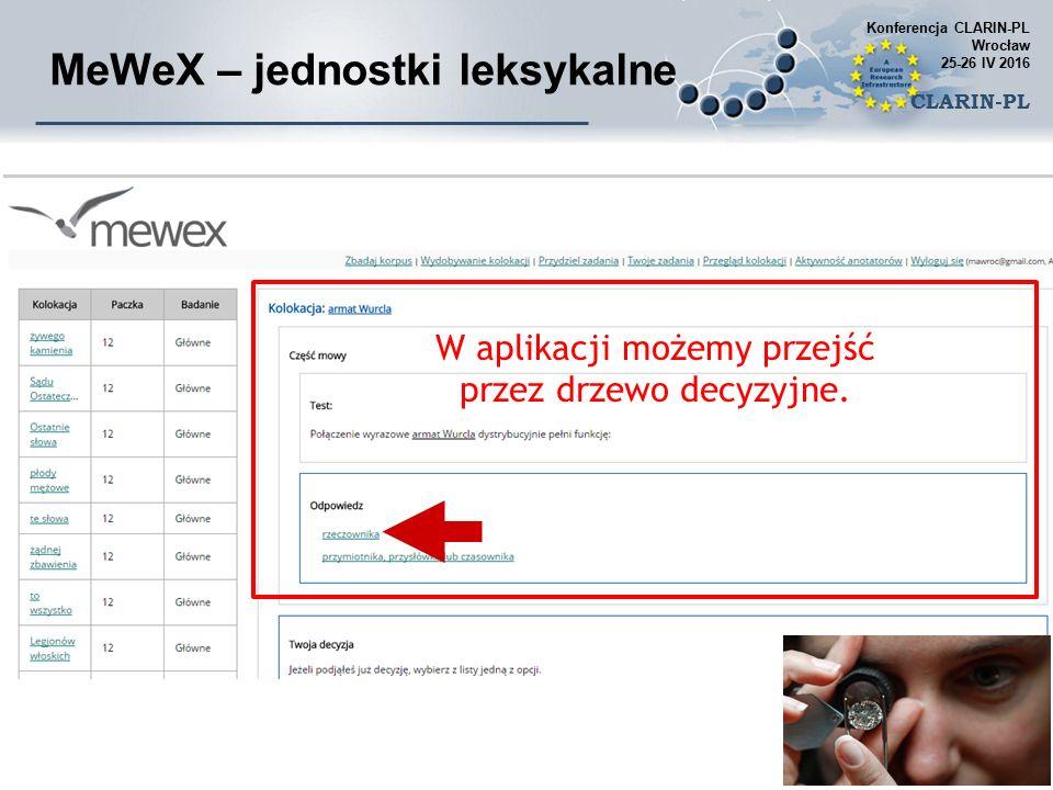 MeWeX – jednostki leksykalne W aplikacji możemy przejść przez drzewo decyzyjne.