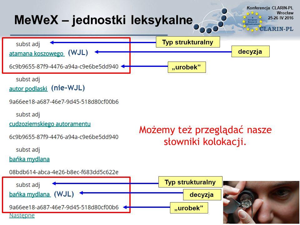 """Typ strukturalny decyzja """"urobek MeWeX – jednostki leksykalne Możemy też przeglądać nasze słowniki kolokacji."""