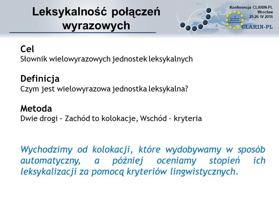Cel Słownik wielowyrazowych jednostek leksykalnych Definicja Czym jest wielowyrazowa jednostka leksykalna.