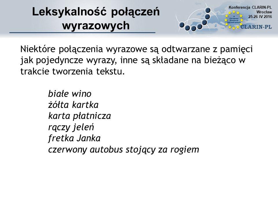 CLARIN-PL Contonni T1 (Paradowski, 2015) Contonni T2 (Paradowski, 2015) Sorgenfrei (Paradowski, 2015) Dice (Pečina, 2010) Jaccard (Pečina, 2010) Unigram Subtuples (Pečina, 2010) Frequency Biased Mutual Dependency (Pečina, 2010) Mutual Expection (Pečina, 2010) W Specific Correlation (Hoang et al., 2009b) T-Score (Pečina, 2010) Z-Score (Pečina, 2010) Pearson's Chi 2 (Pečina, 2010) Loglikelihood (Pečina, 2010) Pojedyncze miary powiązania