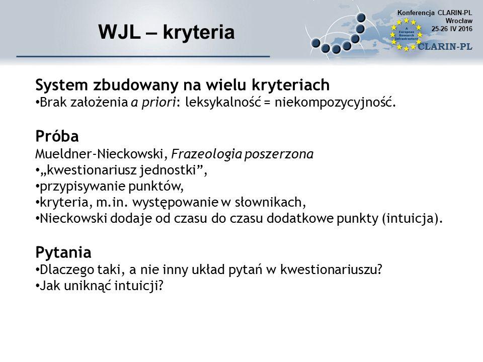 WJL – kryteria System zbudowany na wielu kryteriach Brak założenia a priori: leksykalność = niekompozycyjność.
