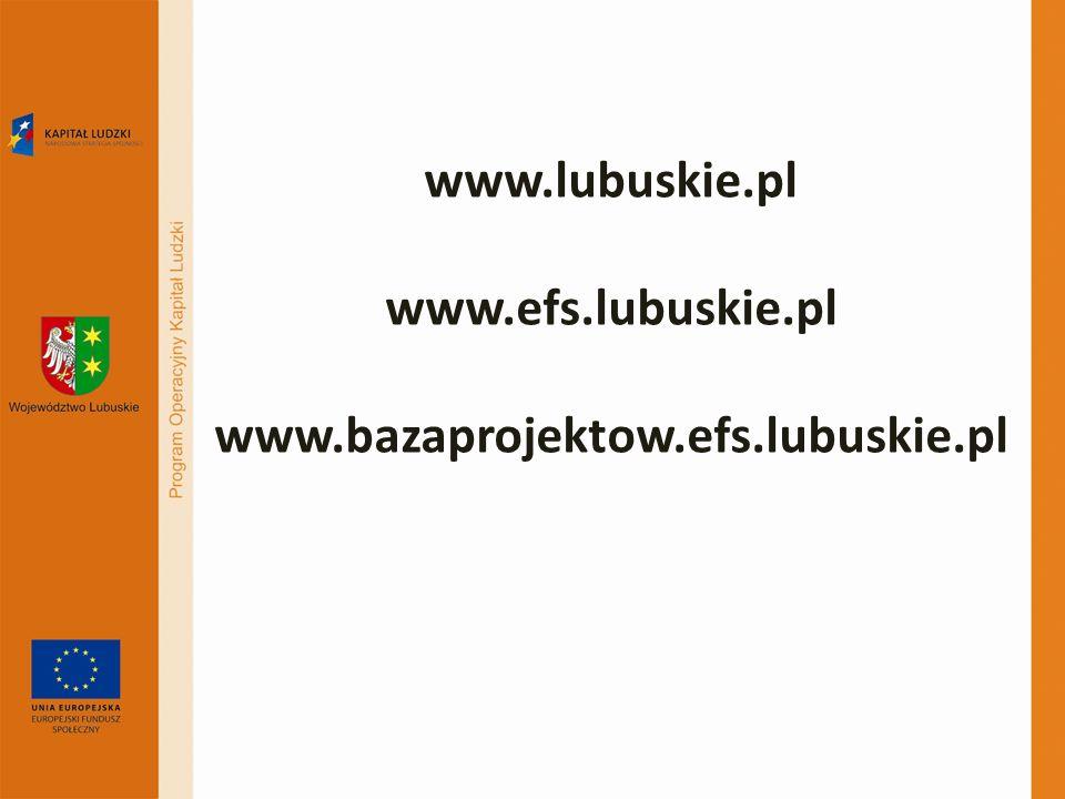 www.lubuskie.pl www.efs.lubuskie.pl www.bazaprojektow.efs.lubuskie.pl