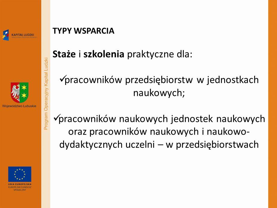 TYPY WSPARCIA Staże i szkolenia praktyczne dla: pracowników przedsiębiorstw w jednostkach naukowych; pracowników naukowych jednostek naukowych oraz pr