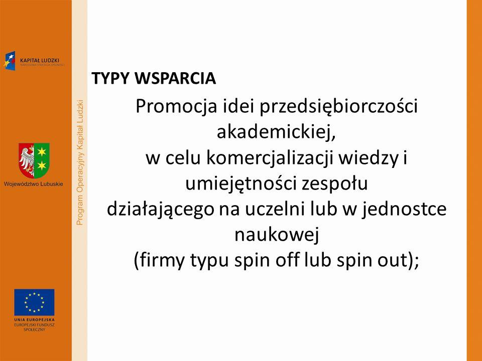 TYPY WSPARCIA Promocja idei przedsiębiorczości akademickiej, w celu komercjalizacji wiedzy i umiejętności zespołu działającego na uczelni lub w jednos