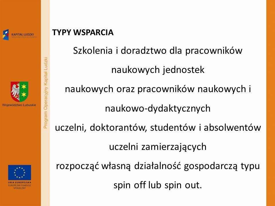 TYPY WSPARCIA Szkolenia i doradztwo dla pracowników naukowych jednostek naukowych oraz pracowników naukowych i naukowo-dydaktycznych uczelni, doktoran