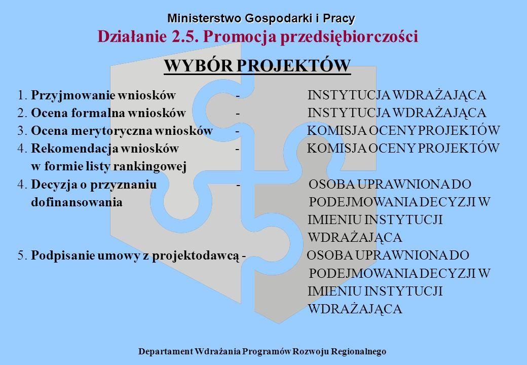 Departament Wdrażania Programów Rozwoju Regionalnego Ministerstwo Gospodarki i Pracy Działanie 2.5. Promocja przedsiębiorczości WYBÓR PROJEKTÓW 1. Prz