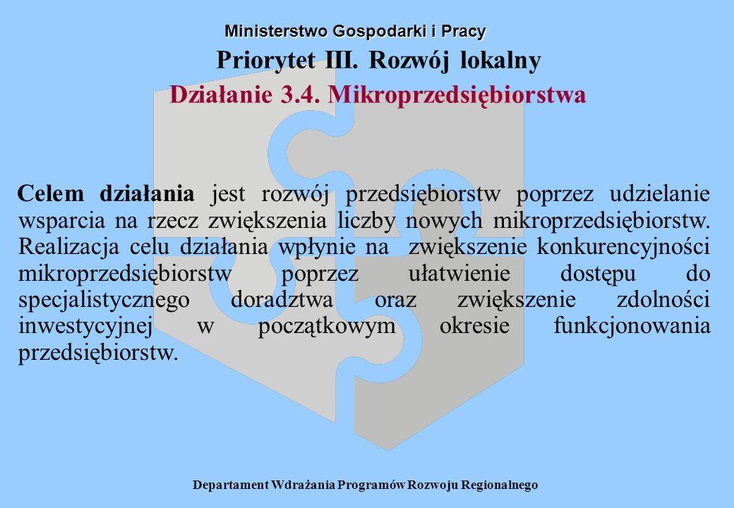 Departament Wdrażania Programów Rozwoju Regionalnego Priorytet III. Rozwój lokalny Działanie 3.4. Mikroprzedsiębiorstwa Ministerstwo Gospodarki i Prac
