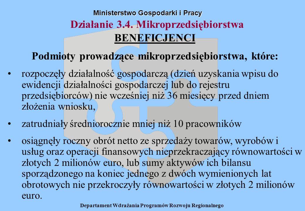 Departament Wdrażania Programów Rozwoju Regionalnego Działanie 3.4. Mikroprzedsiębiorstwa Ministerstwo Gospodarki i Pracy BENEFICJENCI Podmioty prowad