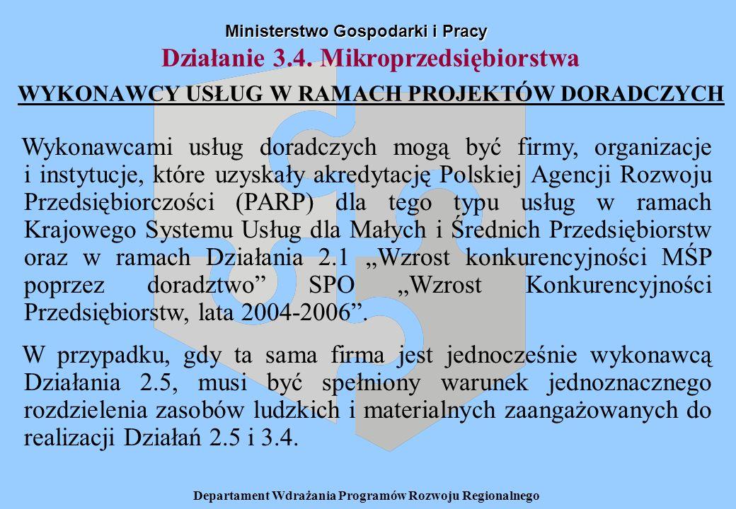 Departament Wdrażania Programów Rozwoju Regionalnego Działanie 3.4.
