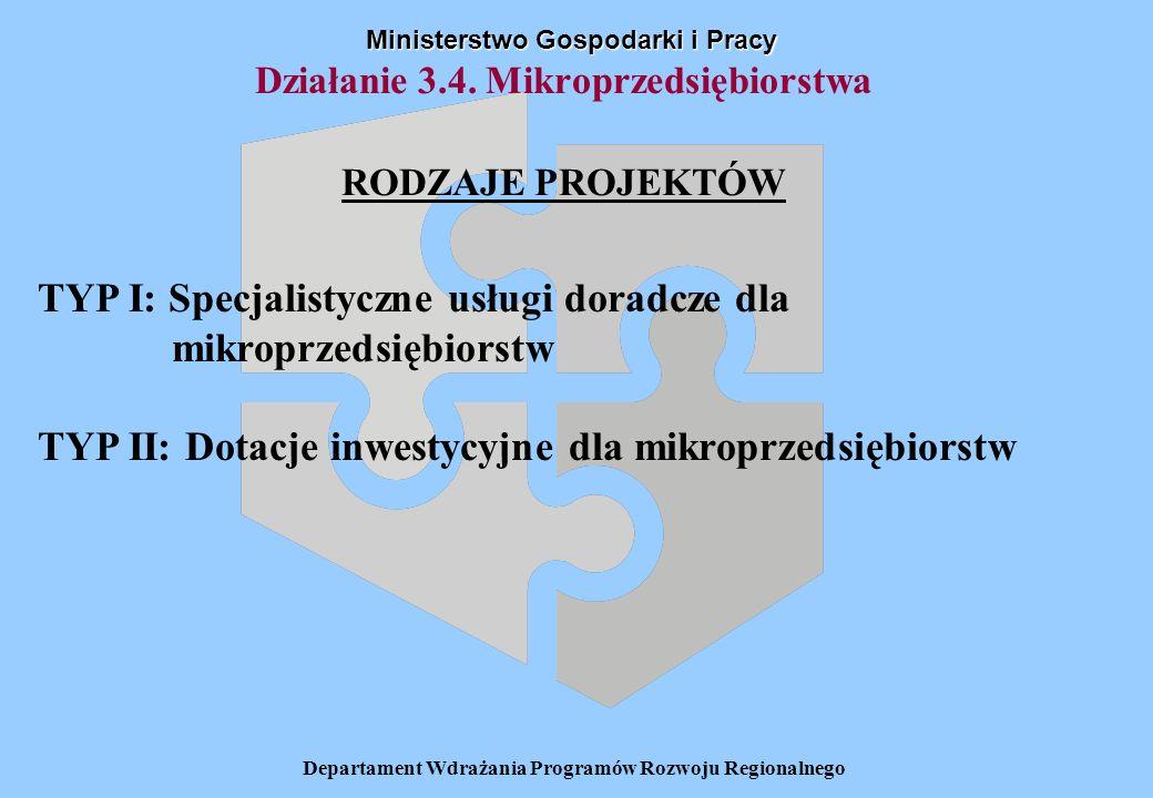 Departament Wdrażania Programów Rozwoju Regionalnego Działanie 3.4. Mikroprzedsiębiorstwa RODZAJE PROJEKTÓW Ministerstwo Gospodarki i Pracy TYP I: Spe