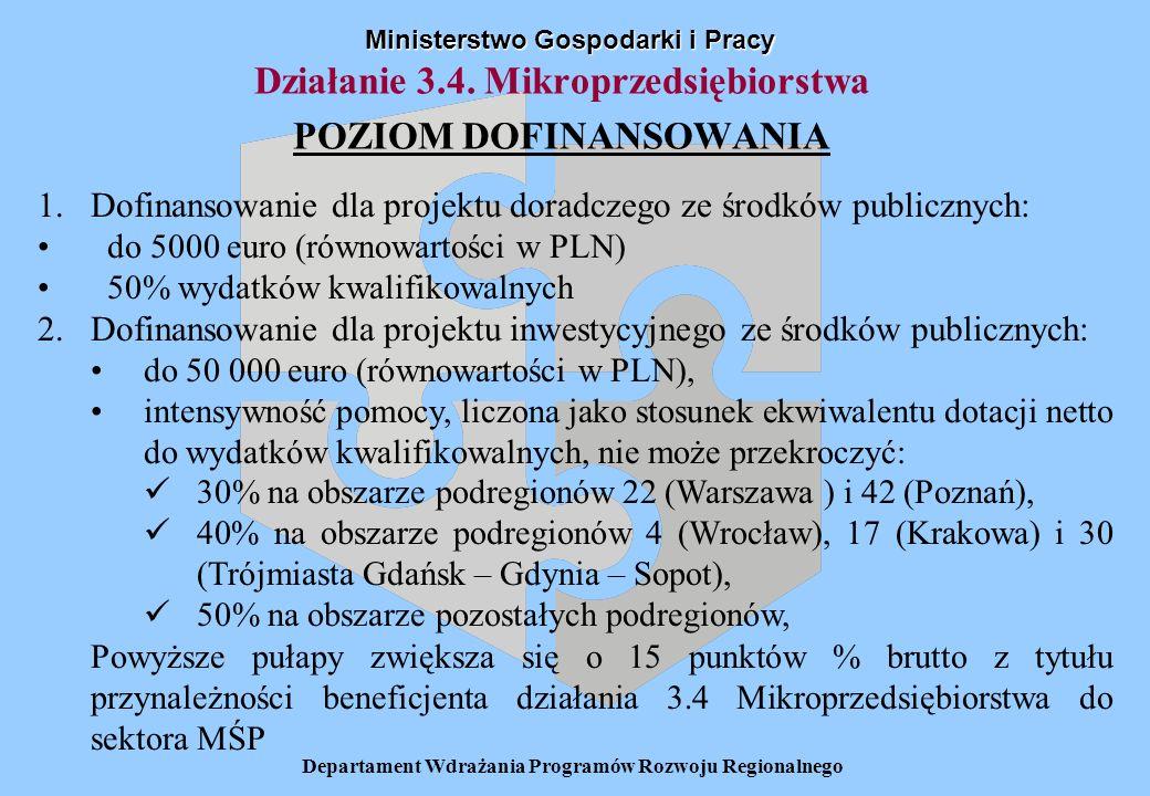 Departament Wdrażania Programów Rozwoju Regionalnego Działanie 3.4. Mikroprzedsiębiorstwa POZIOM DOFINANSOWANIA Ministerstwo Gospodarki i Pracy 1.Dofi